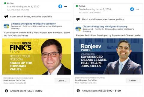 Two ads from Citizens for Energizing Michigan's Economy: one supporting Republican Andrew Fink, the other supporting Democrat Ranjeev Puri.