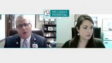 "A screenshot from Hillsdale Hospital's ""What's Up Wednesday"" Facebook Live stream, showing President/CEO J.J. Hodshire and Director of Marketing & Development Rachel Lott."